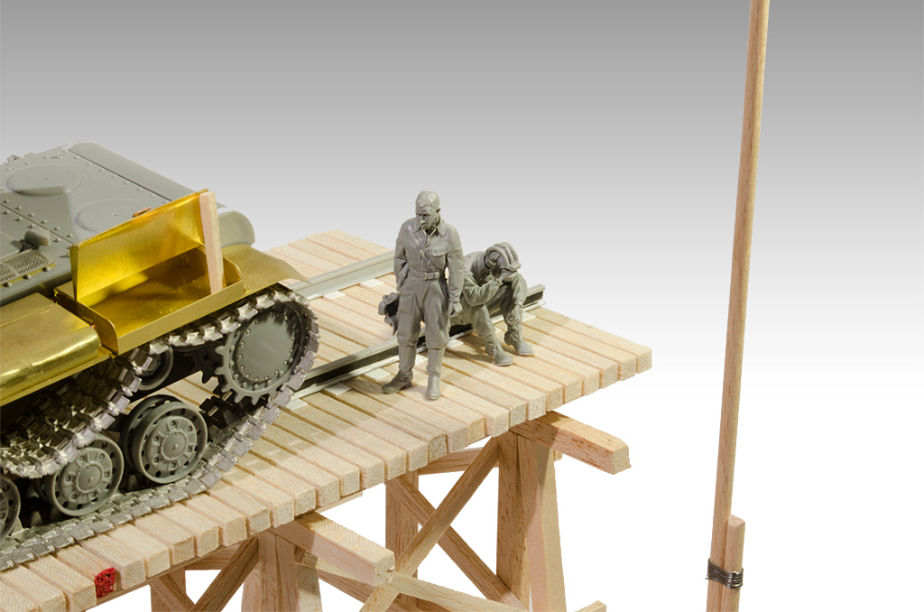 Soviet KV-2 Diorama Railway Trestle Bridge