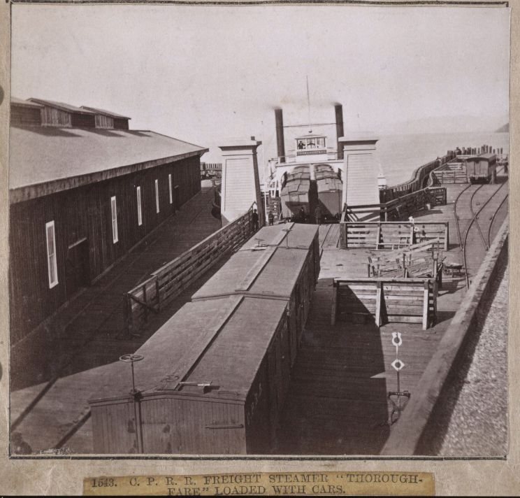 1543. C. P. R. R. Freight Steamer Thoroughfare Loaded with Cars. 1860 : 1870