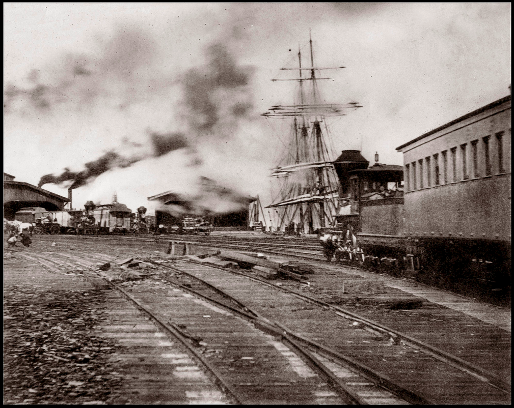 Rail transport on Long Wharf, Oakland c1880