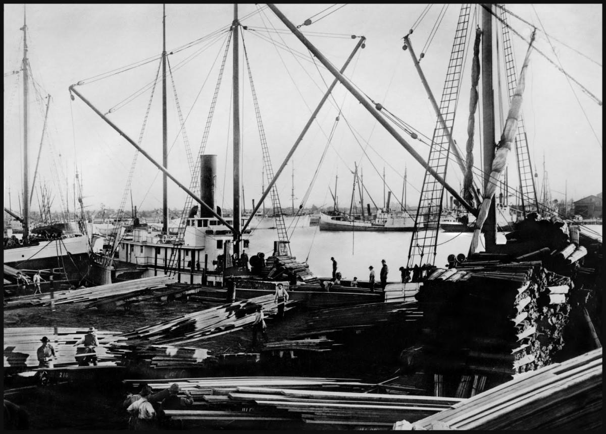 Ships Loading Lumber, Oakland Estuary, c.1870