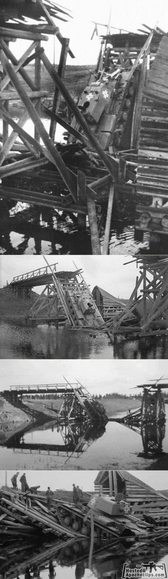 German captured KV-1 fails to cross wooden bridge