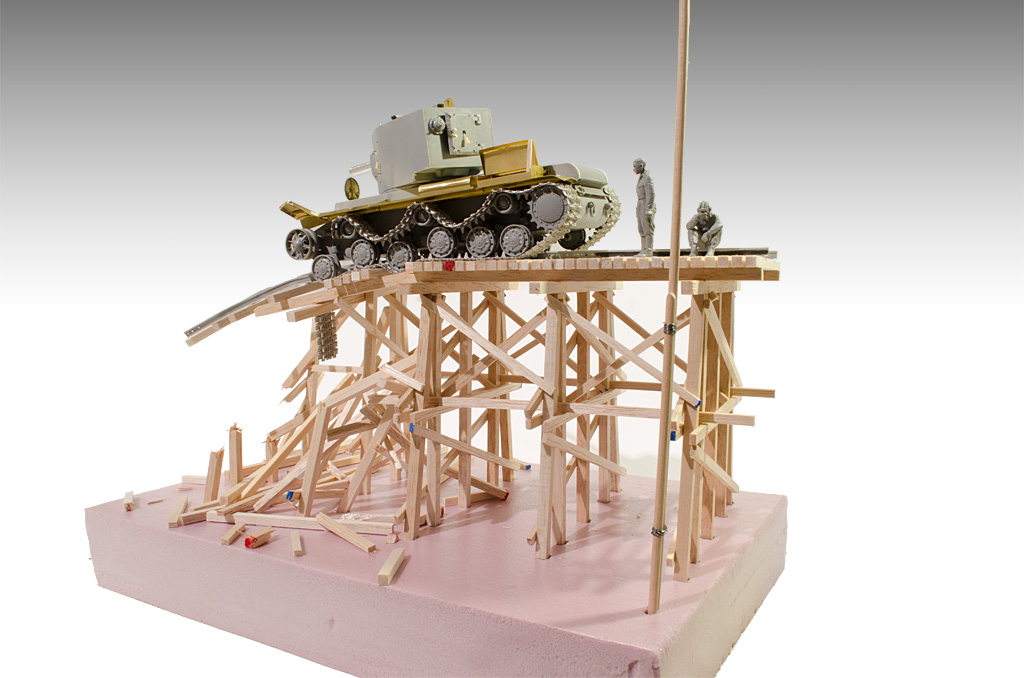 The KV-2 tank and the track are models from Trumpeter