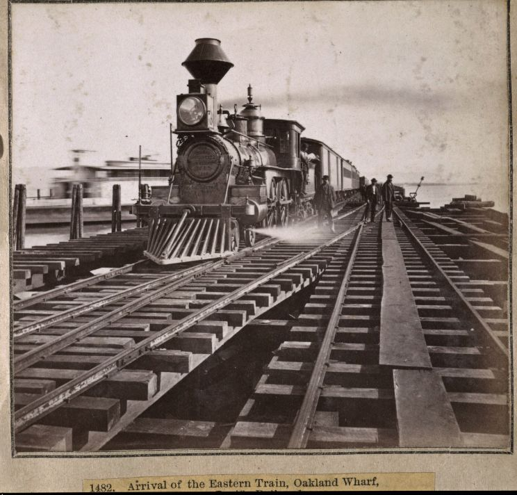 1482. Arrival of the Eastern Train, Oakland Wharf, Western Pacific Railroad. 1860 : 1870