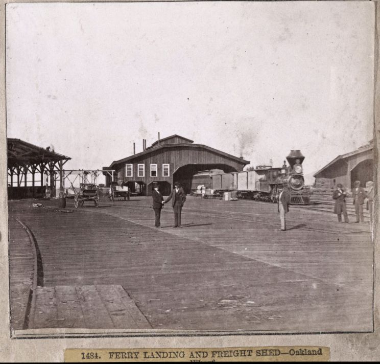 1484. Ferry Landing and Freight Shed -- Oakland Wharf. 1860 : 1870