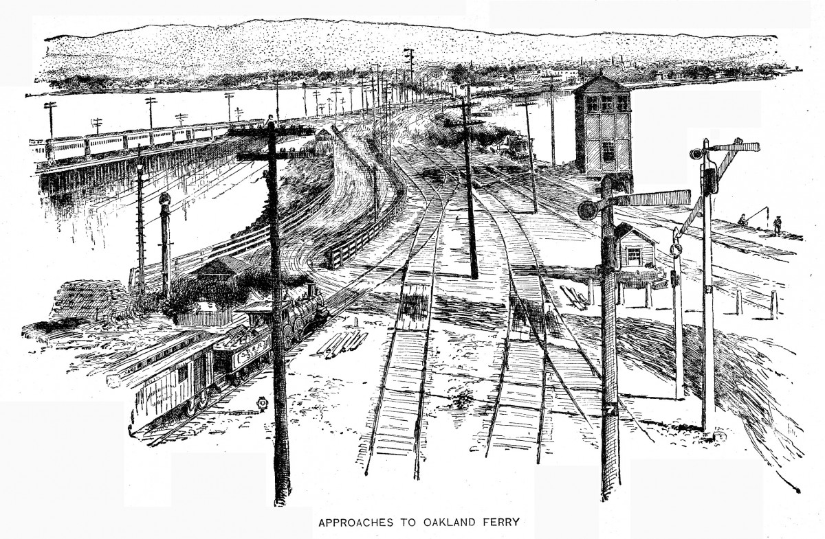 1889 engraving of the approach to the Oakland Ferry Mole