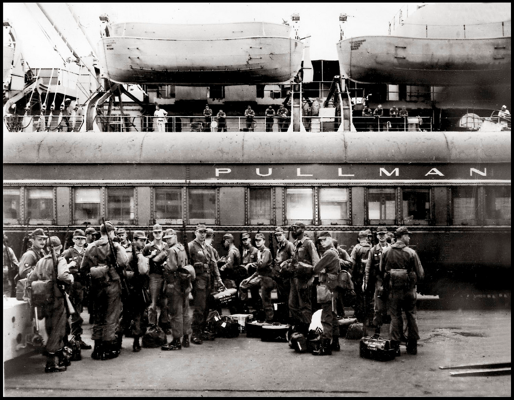 Pullman car with solidiers, WWII