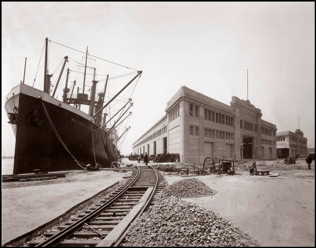 The Port of Oakland's Grove Street Pier opened in 1928 between Grove and Jefferson Streets, on the site of Municipal Dock No. 1