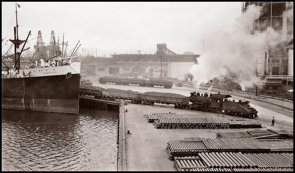 Grove Street terminal, looking west from the transit shed, 1935 Clyde Sunderland