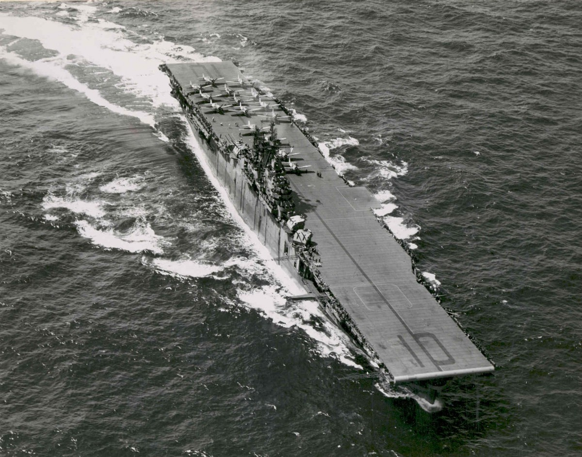 USS Yorktown CV-10 1943 aerial with F6F Hellcats