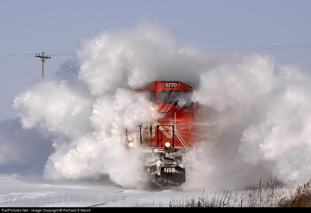 Canadian National Railway EMD SD70I # CN 5770 at Raymond, Iowa, USA.